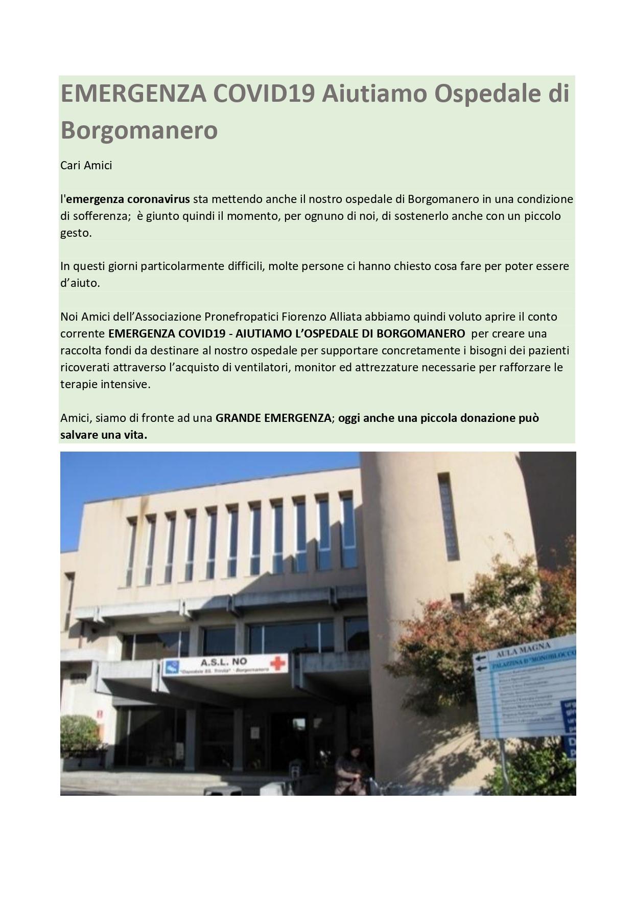 EMERGENZA COVID19 Aiutiamo Ospedale di Borgomanero. clicca sull'immagine per donare anche tu!!